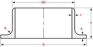 ASME B16.9 Lap Joint Stub End Dimensions
